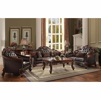 Vendome II Formal Tufted Sofa & Loveseat Set In Brown Cherry Faux Leather