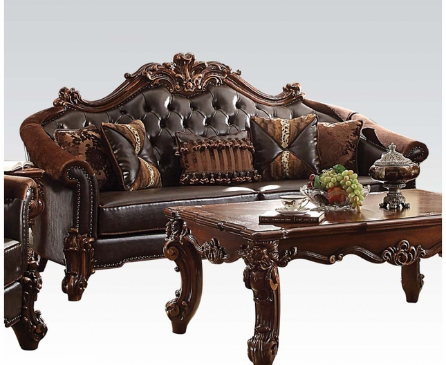 Strange Vendome Ii Formal Two Tone Dark Brown Sofa With Tufted Faux Ncnpc Chair Design For Home Ncnpcorg