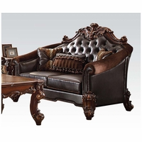 Vendome II Formal Two-Tone Dark Brown Loveseat With Tufted Faux Leather