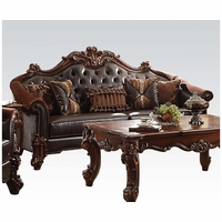 Vendome II Formal Two-Tone Dark Brown Sofa With Tufted Faux Leather