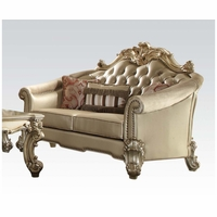 Vendome II Formal Victorian Crystal Tufted Faux Leather Loveseat In Gold Patina