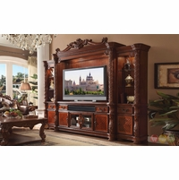 "Vendome II Ornate 80"" Entertainment Wall Unit In Traditional Cherry"