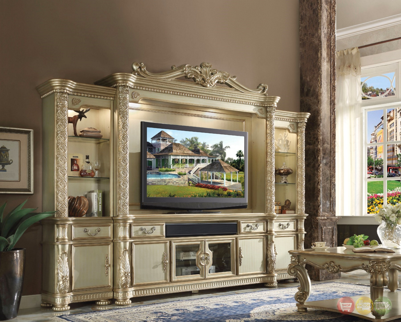 Vendome Ii Ornate 80 Quot Entertainment Wall Unit In