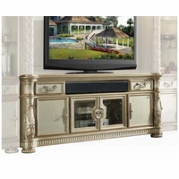 "Vendome II Ornate 80"" Grand TV Stand In Traditional Gold Patina"