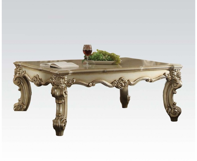 II Traditional Coffee Table In Gold Patina And Bone White