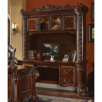 Vendome Ornate Traditional Computer Desk & Hutch In Brown Cherry