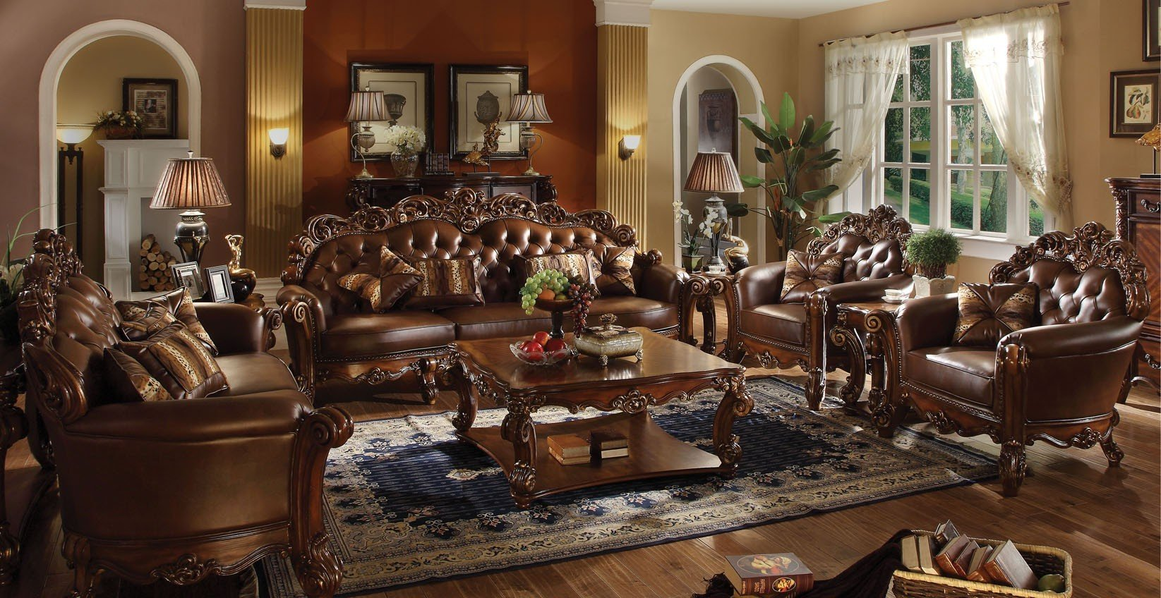 Vendome oversized formal sofa loveseat set in brown for Formal living room furniture sets