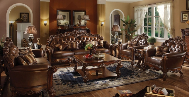 Vendome Oversized Formal Sofa & Loveseat Set In Brown Cherry Faux Leather