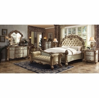 Vendome Traditional 4pc Button Tufted King Bedroom Set in Gold Patina