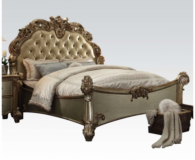 Vendome Traditional Baroque Upholstered California King Bed In Gold Patina