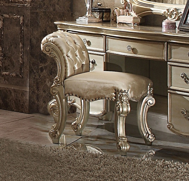 Vendome Traditional Button-Tufted Beige Vanity Stool In Gold Patina