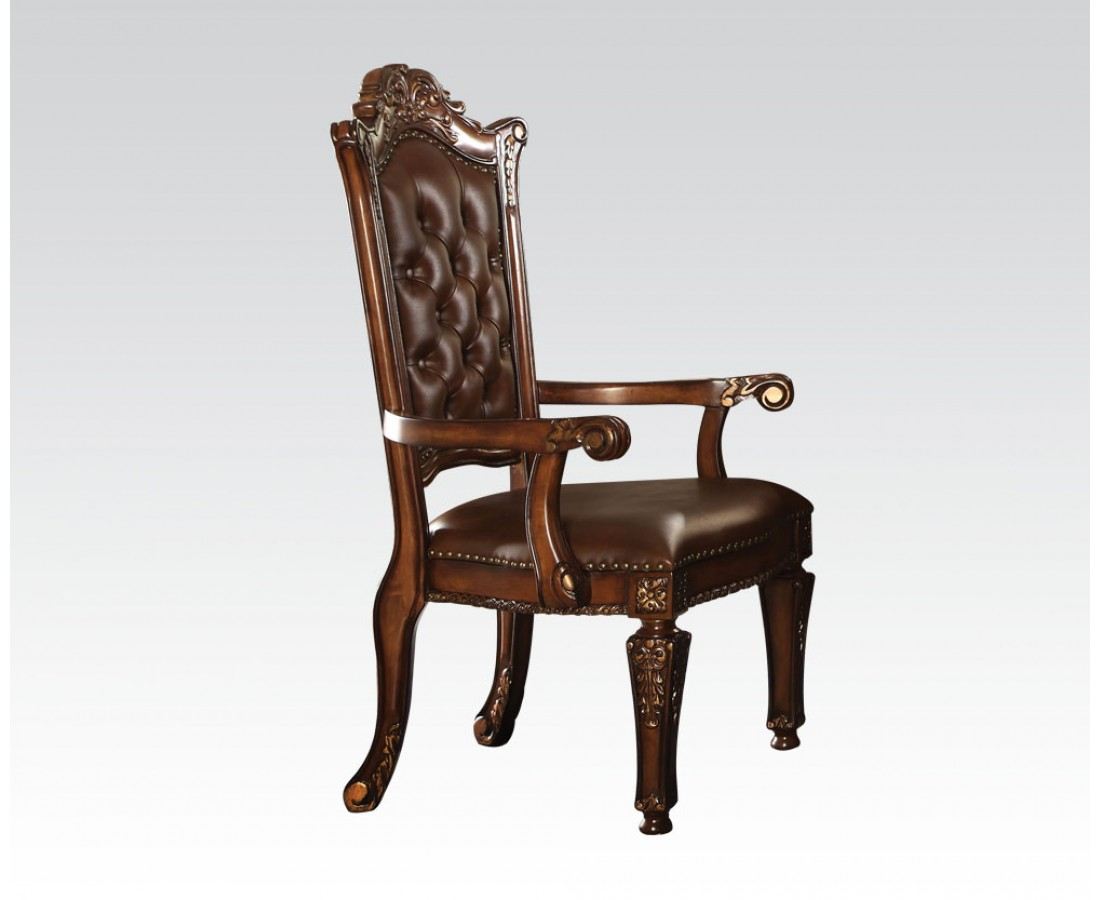 Vendome Traditional Button Tufted Faux Leather Arm Chair ...