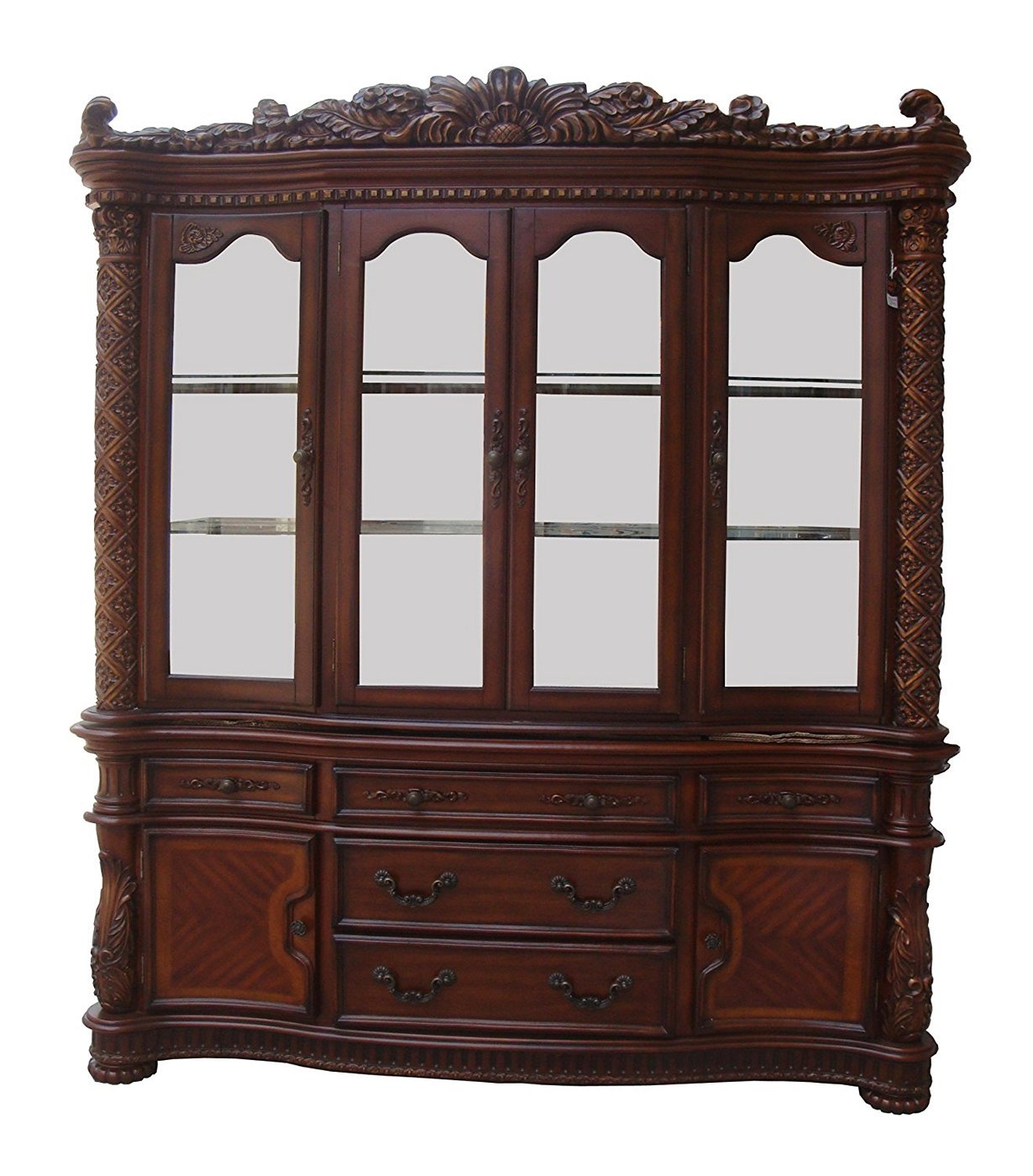 Vendome Traditional Formal Dining Room Cherry Finish: Vendome Traditional Carved Floral China Cabinet In Deep