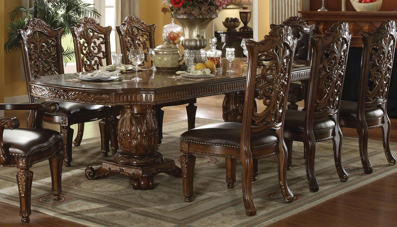 Vendome traditional formal double pedestal 85 121 dining for 85 dining table