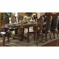 "Vendome Traditional Formal Double Pedestal 85""-121"" Dining Table In Cherry"
