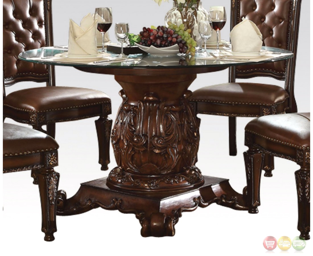 "Vendome Traditional Glass Top 54"" Round Dining Table In ..."