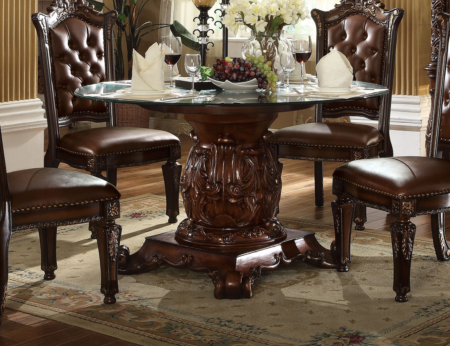 vendome traditional glass top 54 round dining table in brown cherry. Black Bedroom Furniture Sets. Home Design Ideas