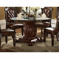 "Vendome Traditional Glass Top 54"" Round Dining Table In Brown Cherry"
