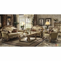 Vendome Traditional Gold Patina Formal Living Room Sets W/ Carved Accents