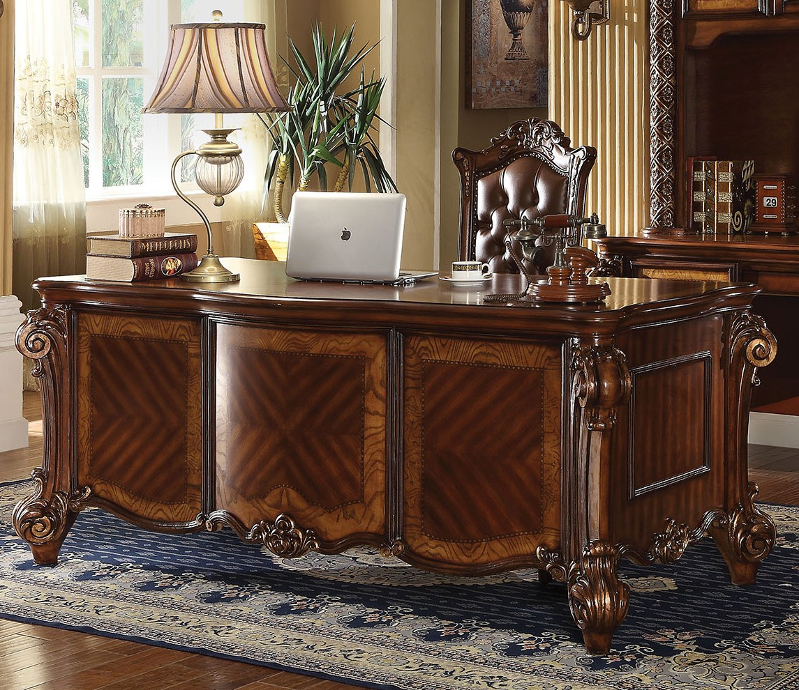 Vendome Traditional Ornate 5 Drawer Executive Desk In