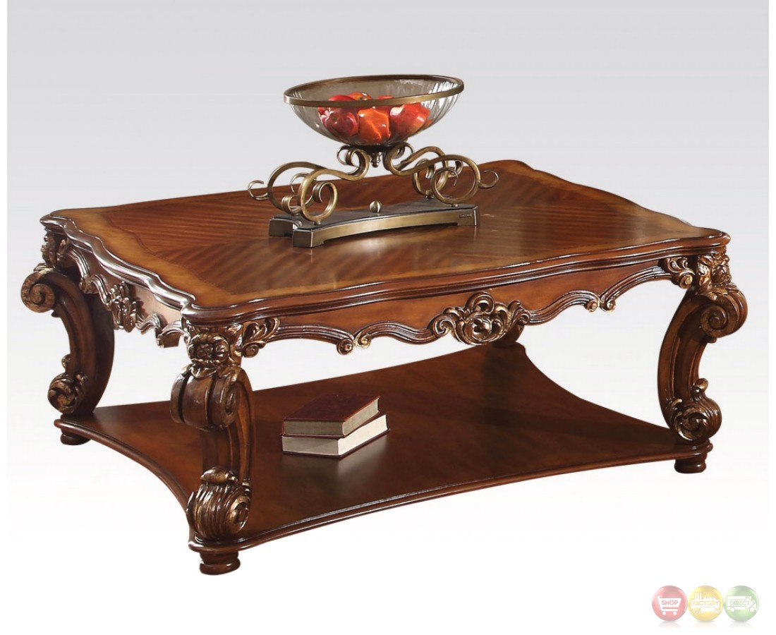 vendome traditional ornate coffee table with wood top in cherry finish. Black Bedroom Furniture Sets. Home Design Ideas