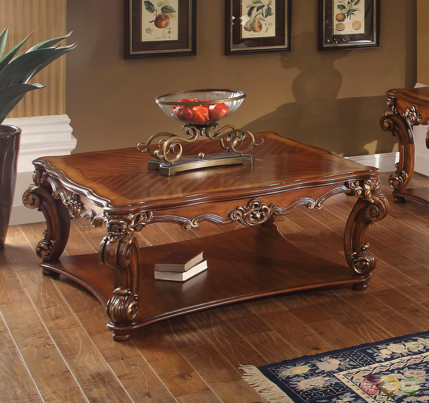 Vendome Traditional Ornate Coffee Table With Wood Top In