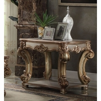 Vendome Traditional Ornate End Table With Wood Top In Gold Patina