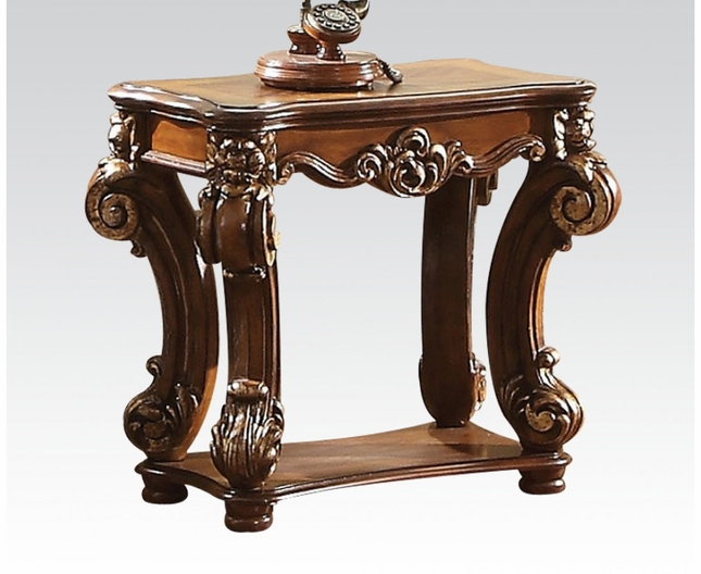 Vendome Traditional Ornate Small Side Table With Wood Top In Cherry