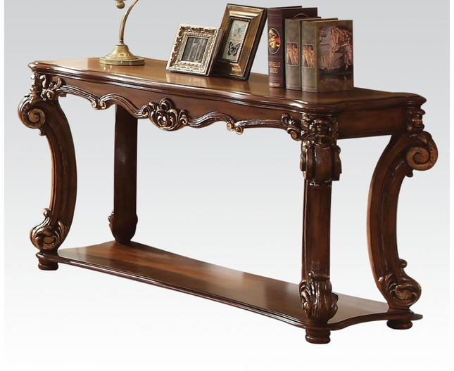 vendome traditional ornate sofa table with wood top in cherry finish rh shopfactorydirect com doyle traditional sofa table with glass inlay top coaster venice traditional sofa table