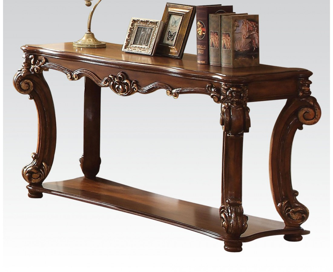 Vendome Traditional Ornate Sofa Table With Wood Top In Cherry Finish Brown Red