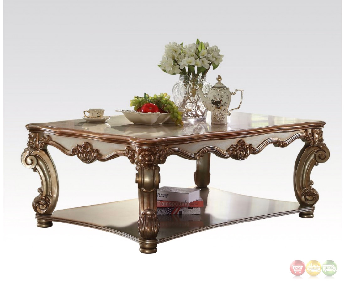 Vendome Traditional Wood Top Large Rectangular Coffee Table In Gold Patina