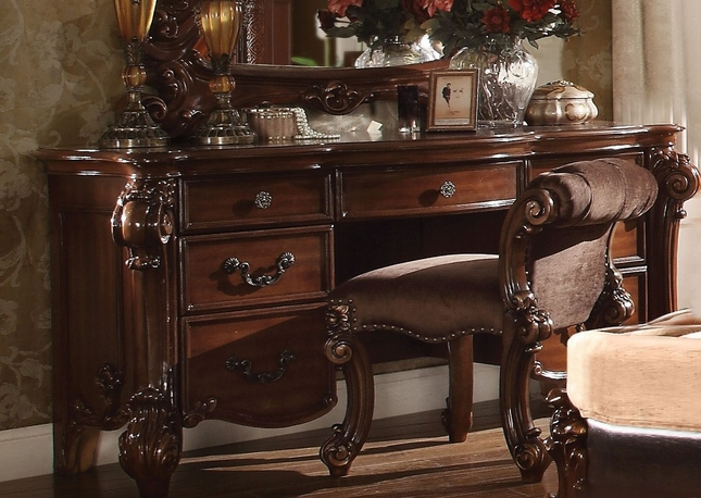 Vendome Victorian 7 Drawer Bedroom Vanity Desk In Cherry Finish