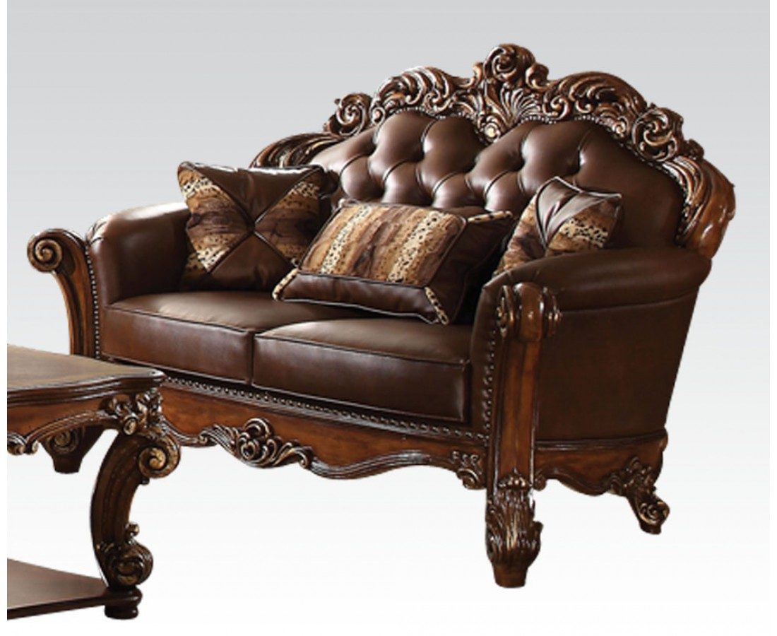 Vendome Oversized Formal Sofa Loveseat Set In Brown Cherry Faux Leather