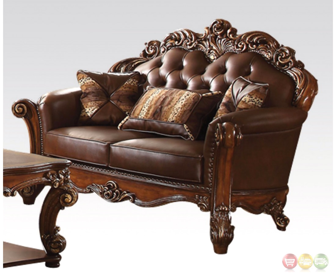 Vendome oversized formal sofa loveseat set in brown for Sofa loveseat and chair set