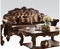 Vendome Victorian Brown Faux Leather Sofa With Carved Wood Accents