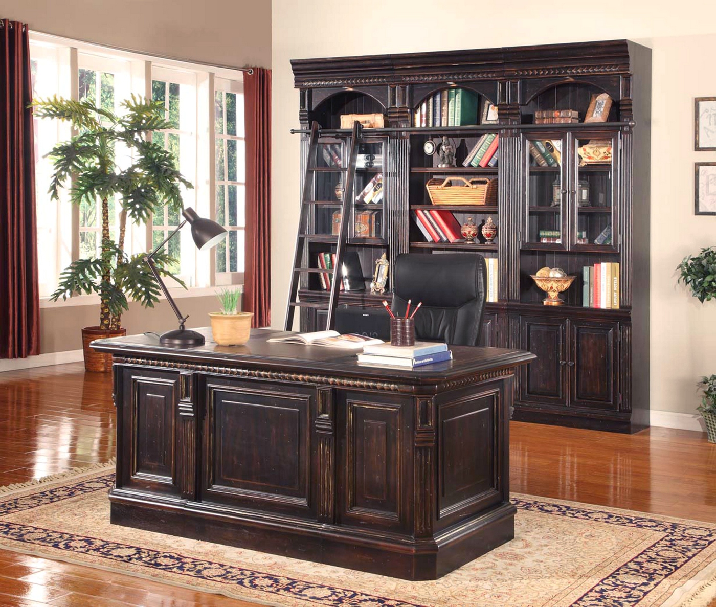 Venezia 3 Piece Library Bookcase Wall W/Optional Executive