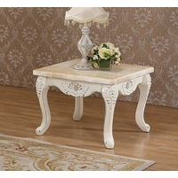 Venice Pearl Marble End Table With Silver Accents