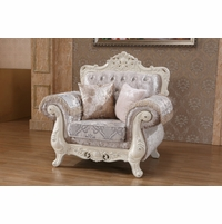 Venice Silver Crystal Tufted Arm Chair With Pearl White Frame