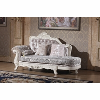 Venice Silver Crystal Tufted Chaise With Pearl White Frame