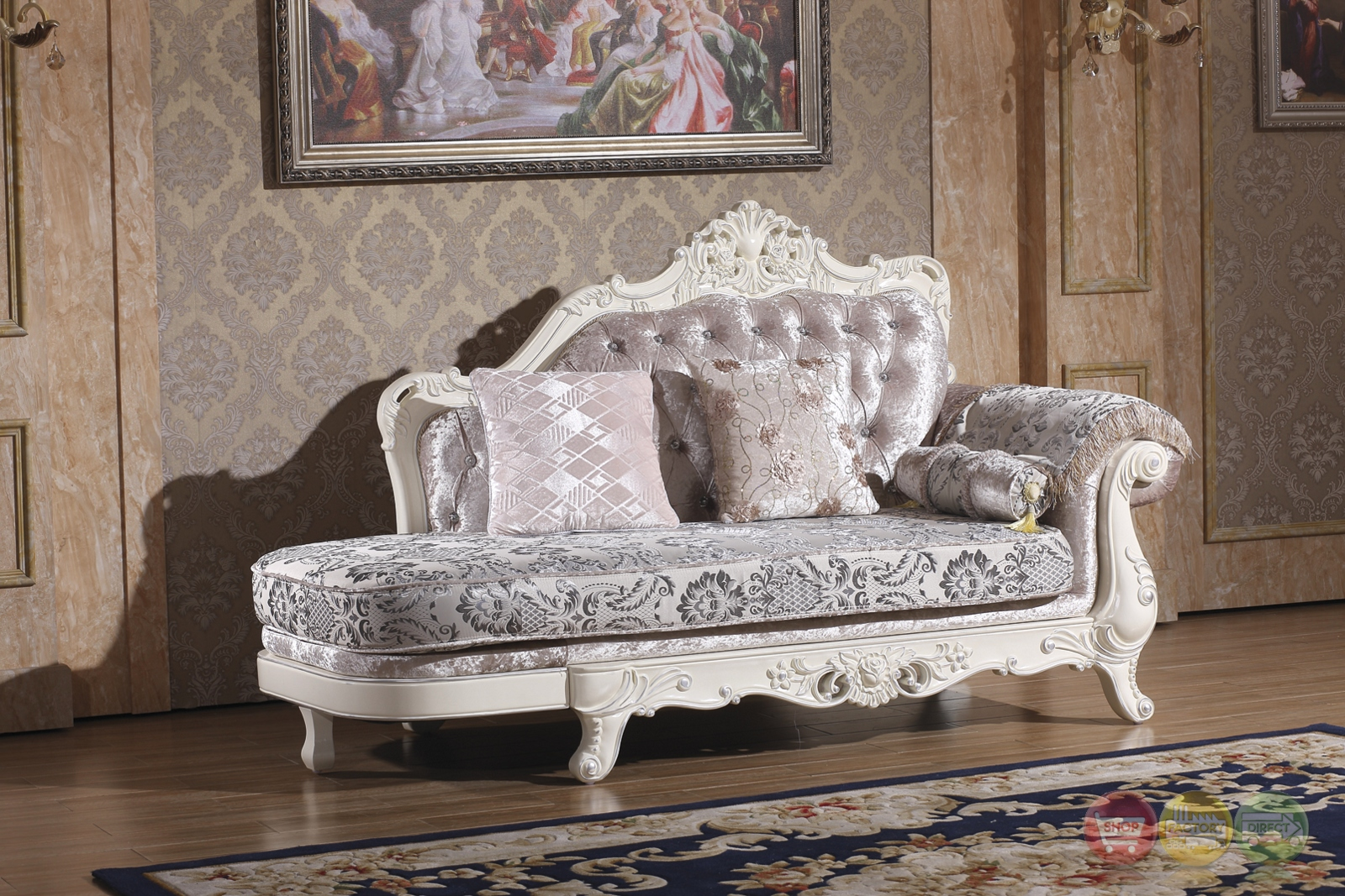 Venice silver crystal tufted chaise with pearl white frame for Alaina tufted chaise in white