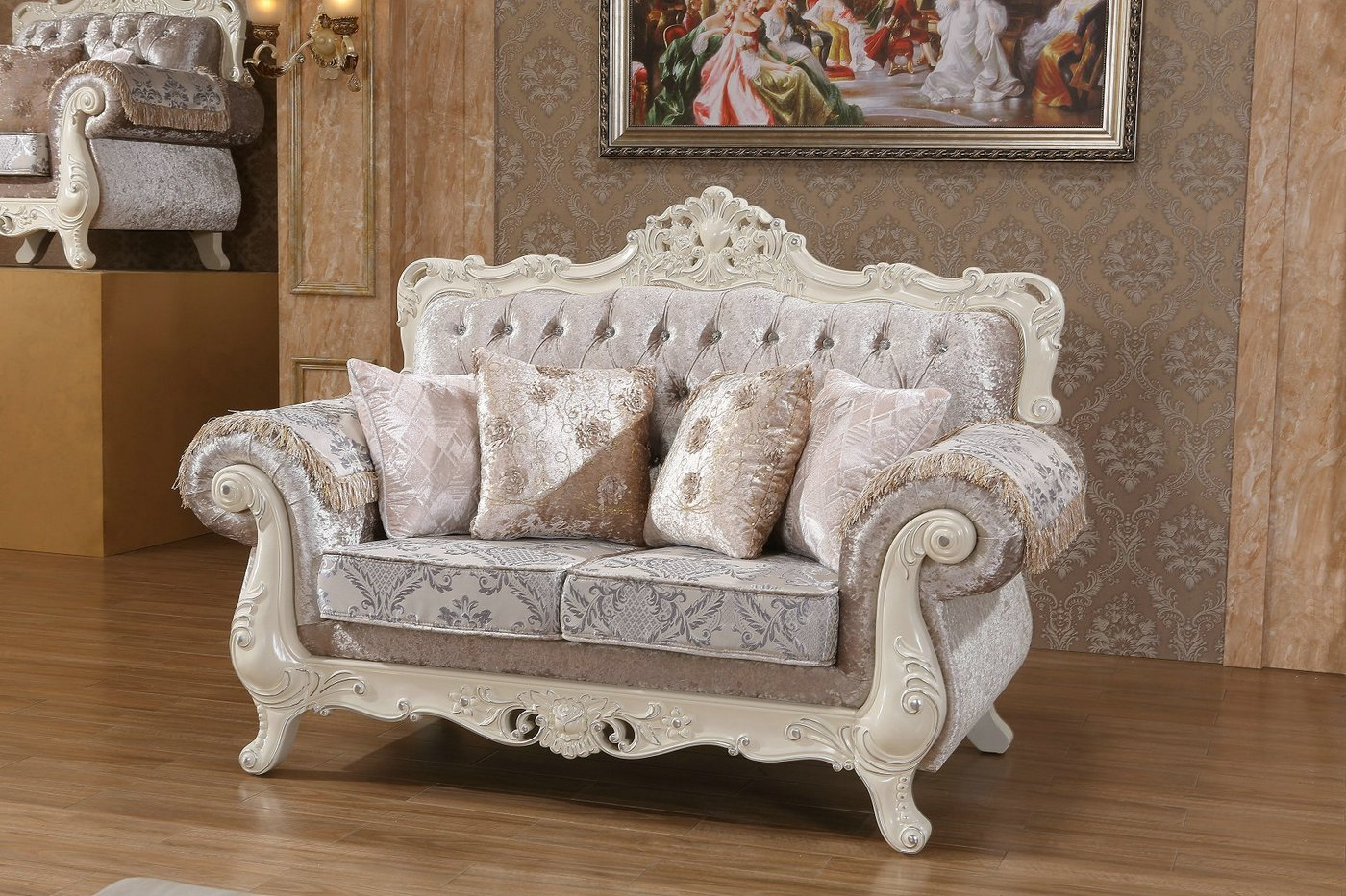 Venice Silver Crystal Tufted Sofa Loveseat Set With Pearl White Frame