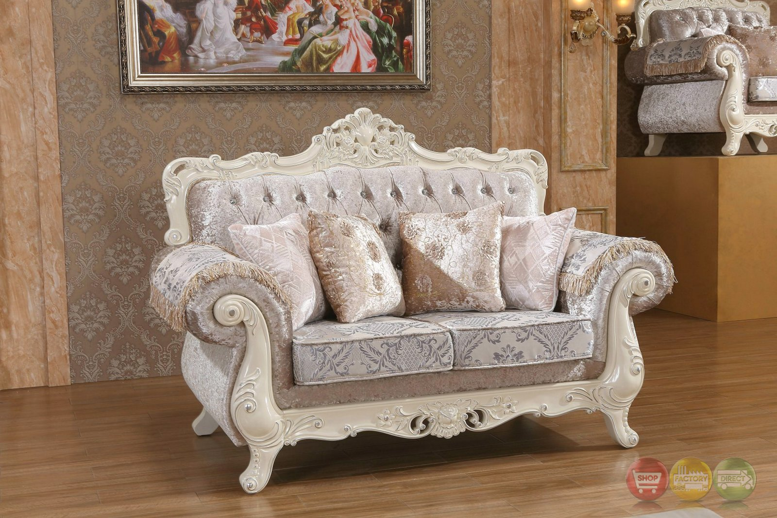 Venice silver crystal tufted sofa loveseat set with for Tufted couch set