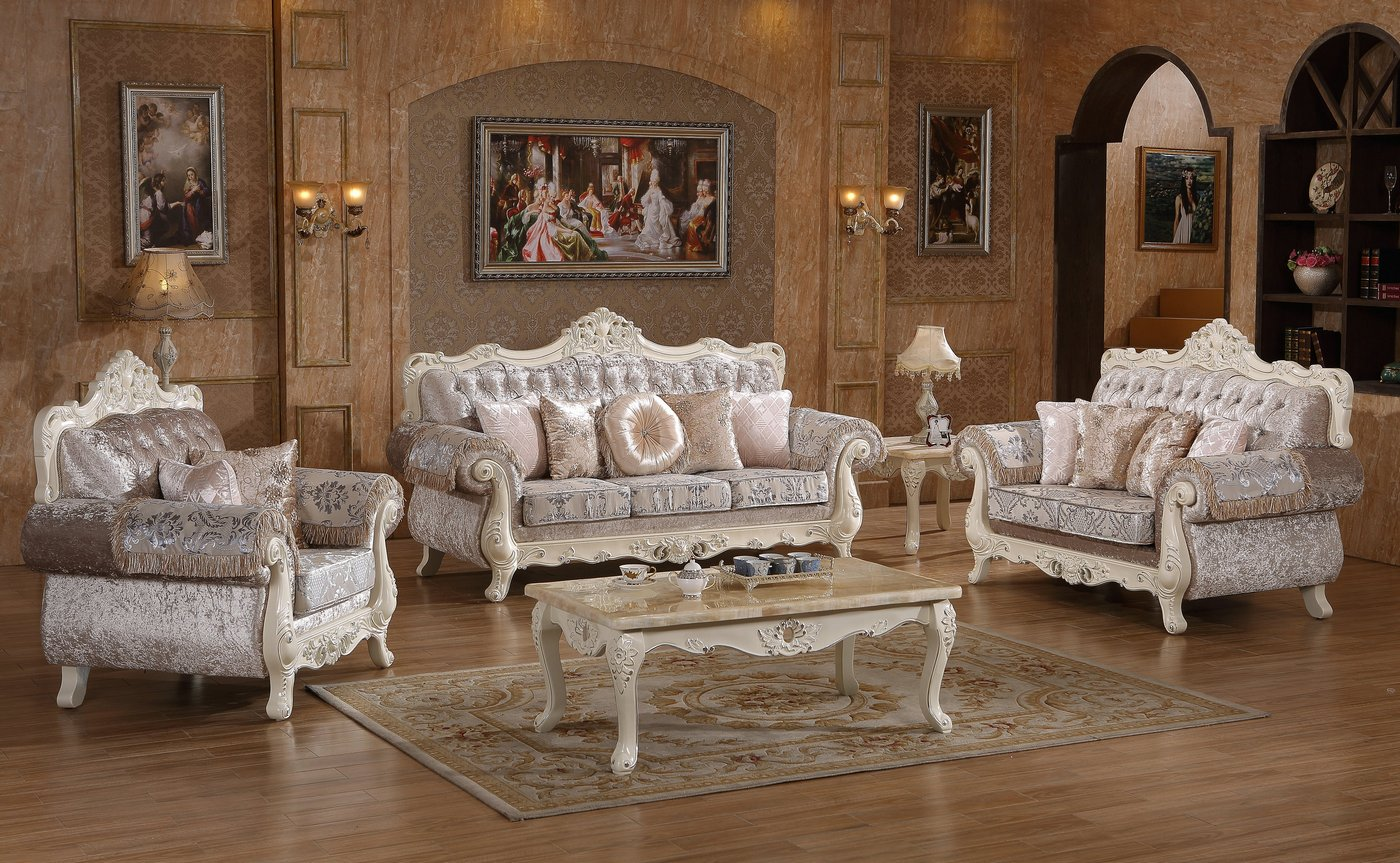 Venice silver crystal tufted chaise with pearl white frame for Tufted couch set
