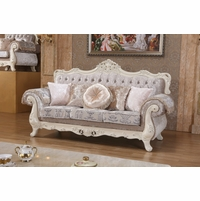 Venice Silver Crystal Tufted Sofa With Pearl White Frame