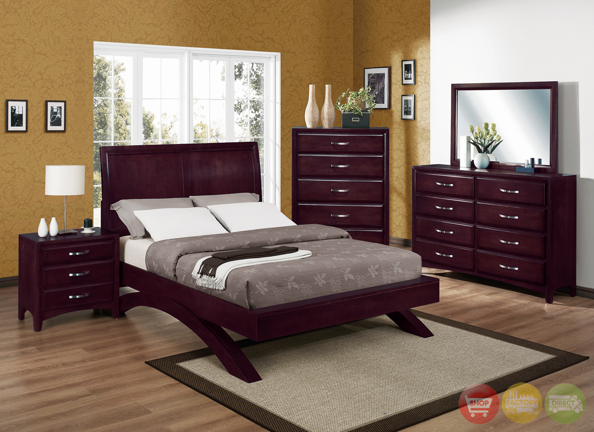 Vera Modern Low Profile Bed Contemporary Bedroom Set Free Shipping