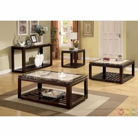 Vernon Contemporary Dark Walnut Accent Tables Set with Open Shelf CM4212