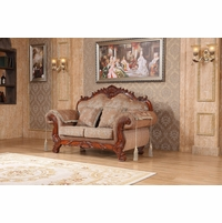 Verona Beige Floral Loveseat With Ornate Cherry Frame