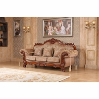Verona Beige Floral Sofa With Ornate Cherry Frame