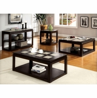 Verona Contemporary Espresso Accent Tables Set with Hidden Casters