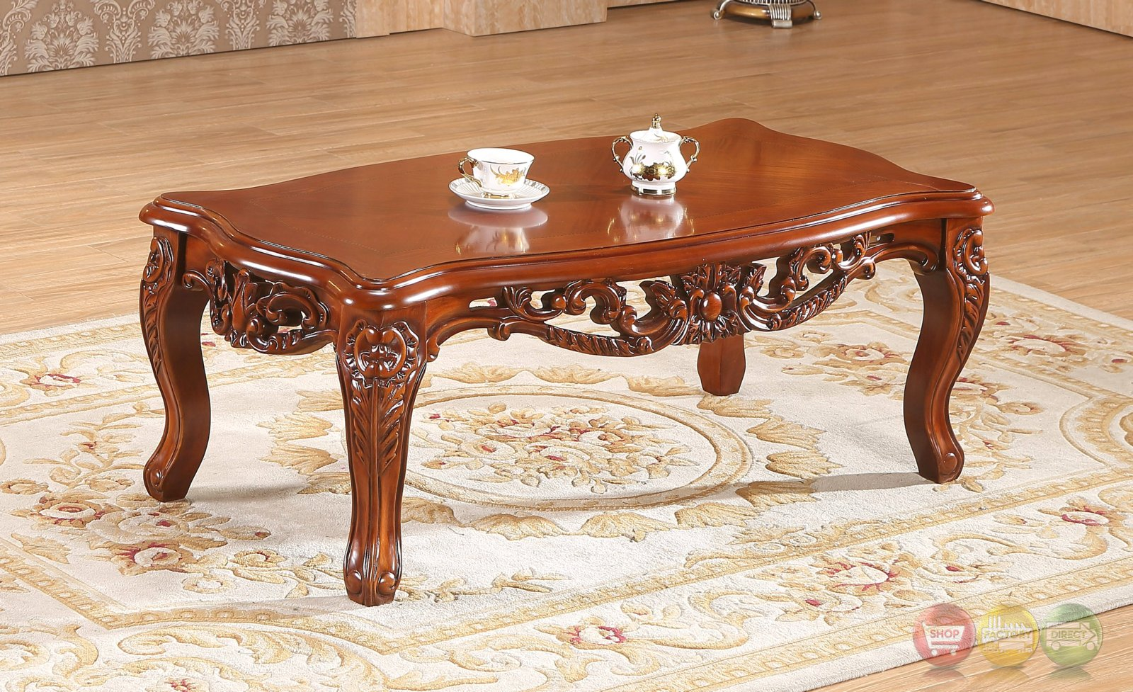 verona floral coffee table with ornate cherry frame. Black Bedroom Furniture Sets. Home Design Ideas